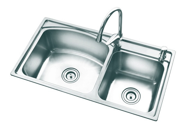 KITCHEN SINK STAINLESS STEEL DOUBLE BOWL SD-3218 32X18X8CM