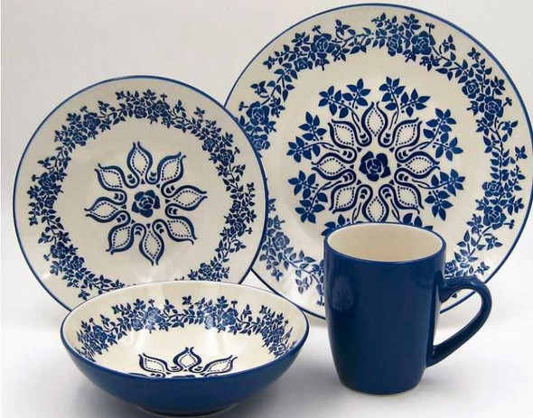 16PC DINNER SET STONEWARE HANNA BLUE