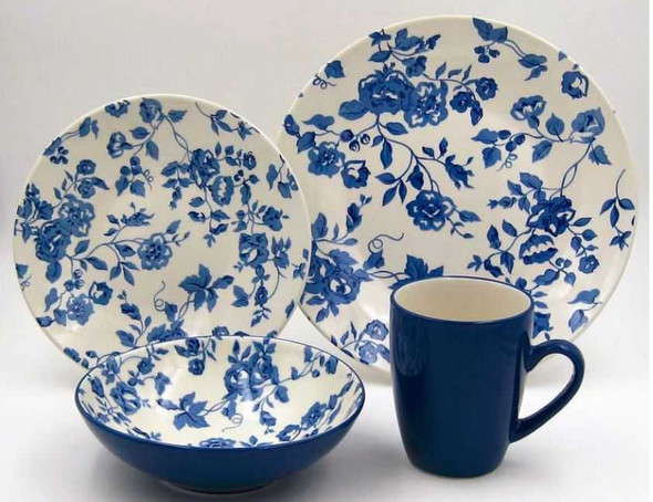 16pc Dinner Set Stoneware – Laura Blue