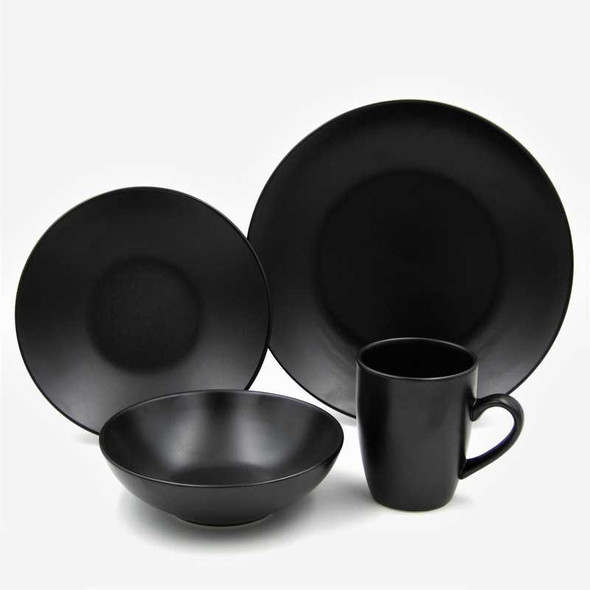 16pc Dinner Set Stoneware – Mono Black