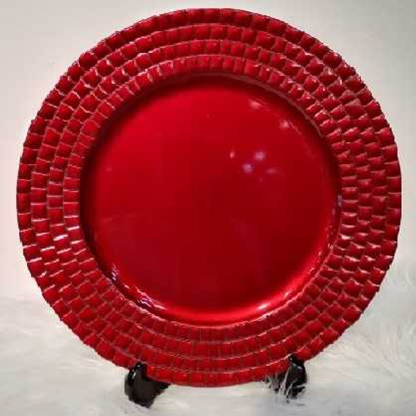 Square Pyramid Rim Design Charger Plate Red 33x33x2cm