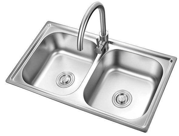 """KITCHEN SINK STAINLESS STEEL S-3017 DOUBLE BOWL 30.7X17X8"""""""