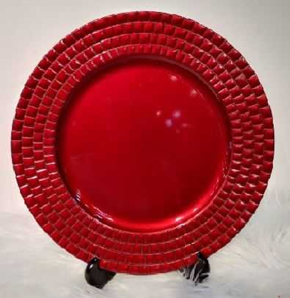 Square  Design Charger Plate Red 33x33x2cm