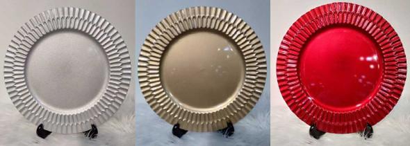 Vintage Design Charger Plate Silver 33x33x2cm