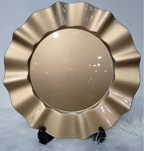 Big Ruffled Design Gold Charger Plate 33X33X2cm