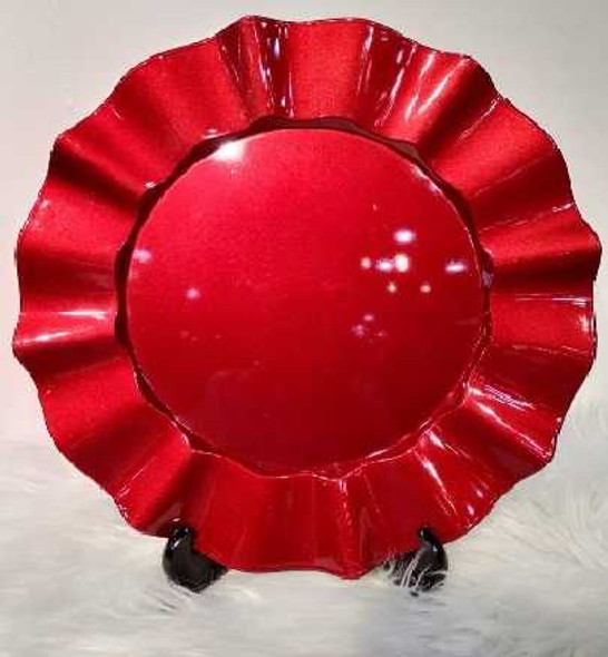 Big Ruffled Design Red Charger Plate 33X33X2cm