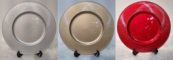 Small Wave Design Charger Plate Silver 33x33x2cm