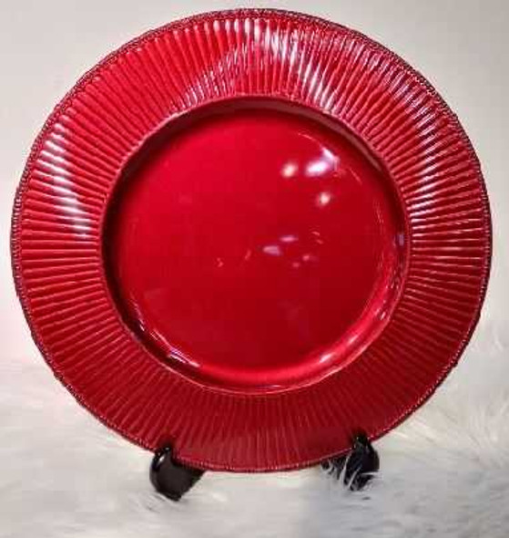 Small Wave Design Charger Plate Red 33x33x2cm