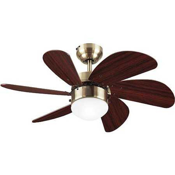 "6T30ABD CEILING FAN TURBO SWIRL 6BLADE 30"" ANTIQUE BRASS"