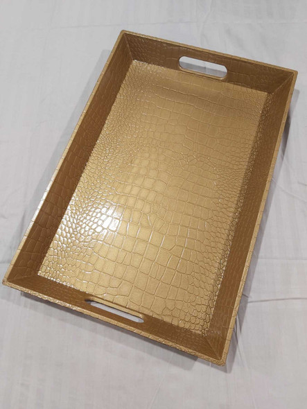 Leatherette Texture Design Serving Tray Gold 45x30x4.5cm