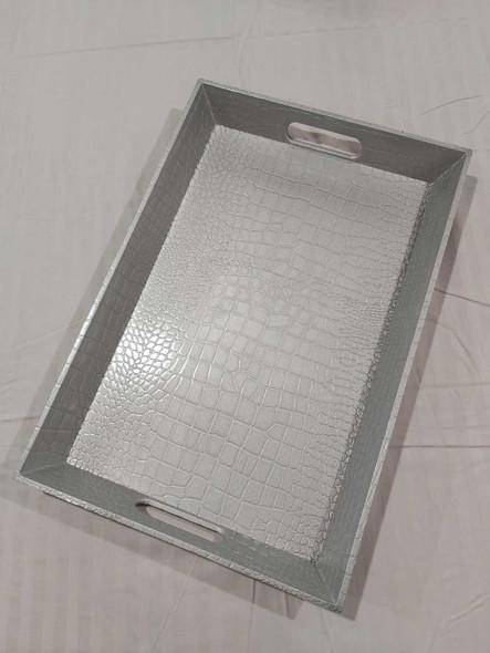 Leatherette Texture Design Serving Tray Silver 45x30x4.5cm