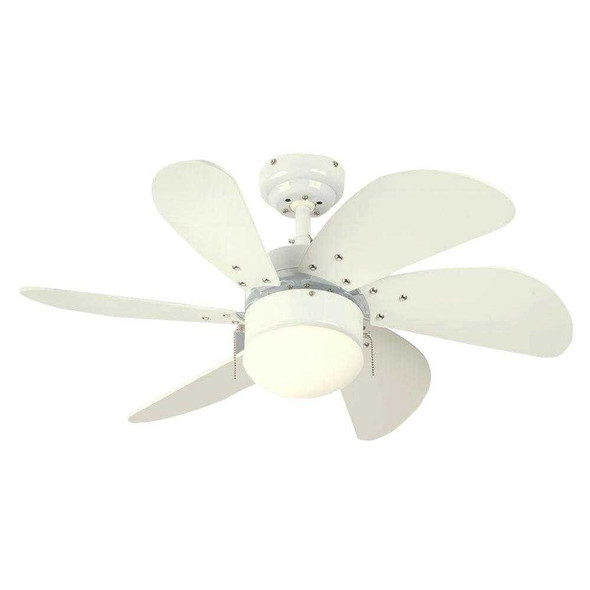 "6T30WHD CEILING FAN TURBO SWIRL 6BLADE 30"" WHITE"