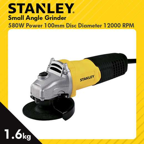 """STANLEY ANGLE GRINDER 100MM 4"""" 12000RPM 580W"""
