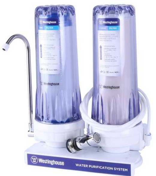 WESTINGHOUSE 2 STAGE WATER FILTER CERAMIC + GAC FILTER CLEAR HOUSING-2