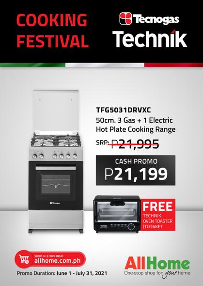 TECNOGAS TFG5031DRVXC RANGE 3G+1E 50CM