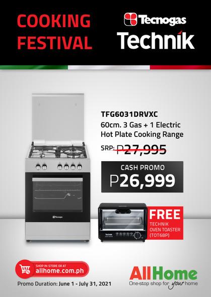 TECNOGAS TFG6031DRVXC RANGE 3G+1EH 60CM WITH FREE TECHNIK OVEN TOASTER