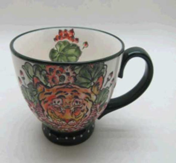 CUP SHINY BEIGE W/ UNDERGLAZED HANDPAINTING