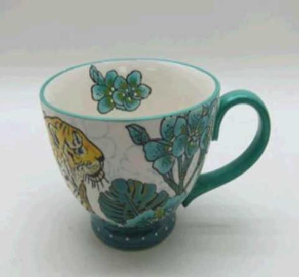 CUP SHINY BEIGE W/ INGLAZED UNDERGLAZED DESIGN