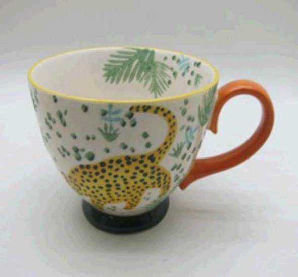 CUP STONEWARE SHINY BEIGE W/ HANDPAINTED DESIG