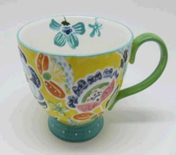 CUP STONEWARE SHINY BEIGE WITH HANDPAINTED DESIGN