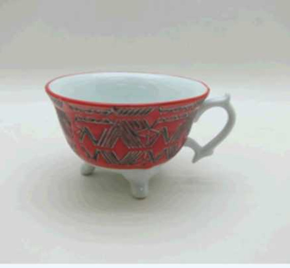 FOOTED CUP PORCELAIN & HANDBRUSH BLUE W/ UNDERGLAZED HANDPAINTING DESIGN