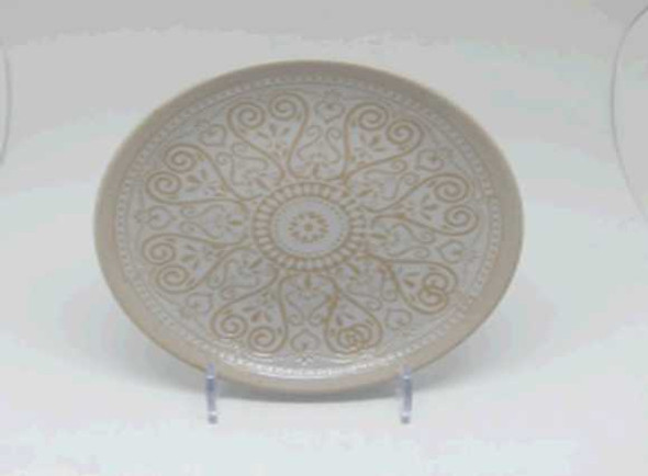 SIDE PLATE PORCELAIN SANDY SOIL SHINY WHITE W/ UNDERGLAZED HANDPAINTING DESIGN