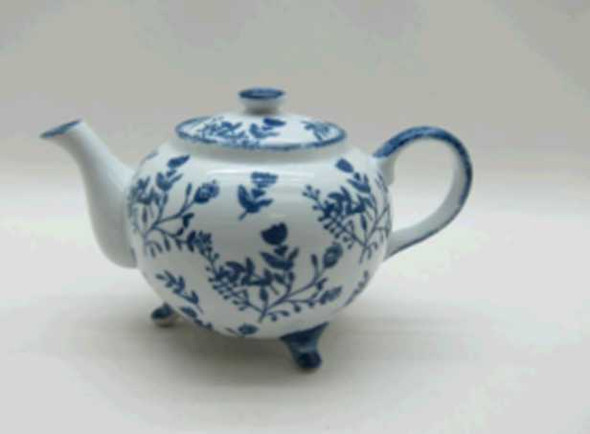 FOOTED TEAPOT PORCELAIN SHINY WHITE W/ HANDPAINTED DESIGN