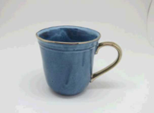 MUG SHINY BLUE REACTIVE GLAZE W/  DESIGN