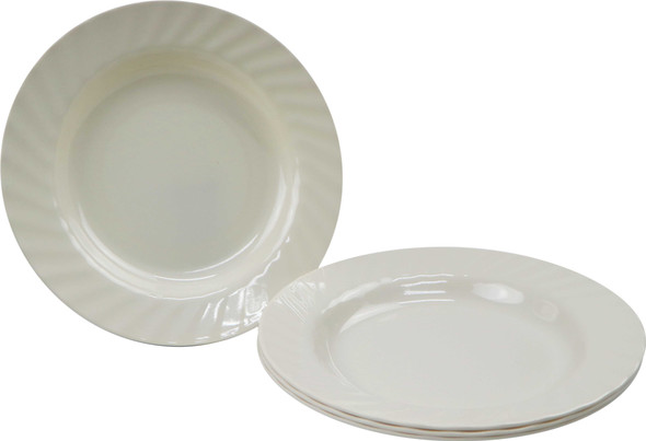 Bestware Round Grooved Plate Cream 10in Set Of 4