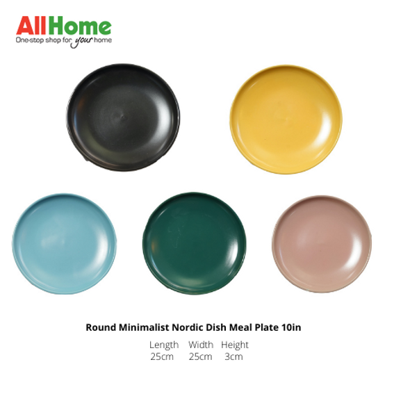 Round Minimalist Nordic Dish Meal Plate 10in