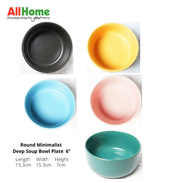 Round Minimalist Deep Soup Bowl Plate 6in