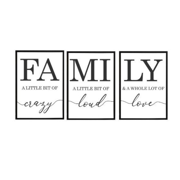 Wall Art Canvass Family Set of 3-A-112020-SPGY333-2115-BLK-01 to 03