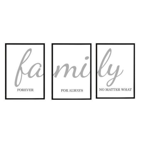Wall Art Canvass Family Set of 3-B-112020-SPGY333-2115-BLK-01to 03