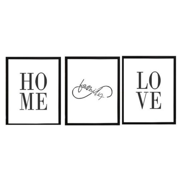 Wall Art Canvass Home Set of 3-B-112020-SPGY333-1215-BLK-01 to 03