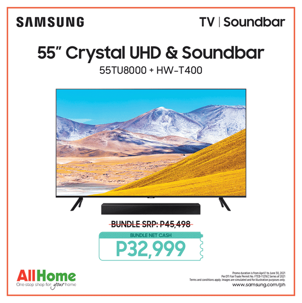 "SAMSUNG UA55TU8000 55"" 4K UHD Smart TV with FREE Samsung HWT400 Soundbar"