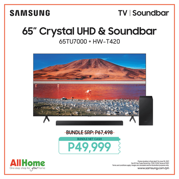 "SAMSUNG UA65TU7000 55"" 4K UHD Smart TV with FREE Samsung HWT420 Soundbar"