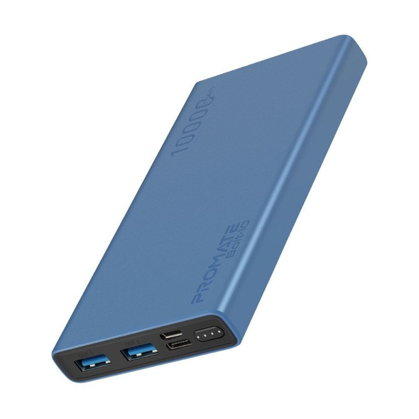 PROMATE Bolt-10 Dual USB Output 10000mAH Power bank Blue
