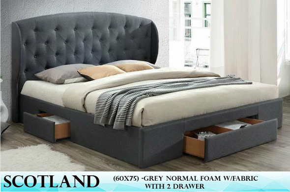 Duke Scotland Queen Bedframe with 2 Drawers