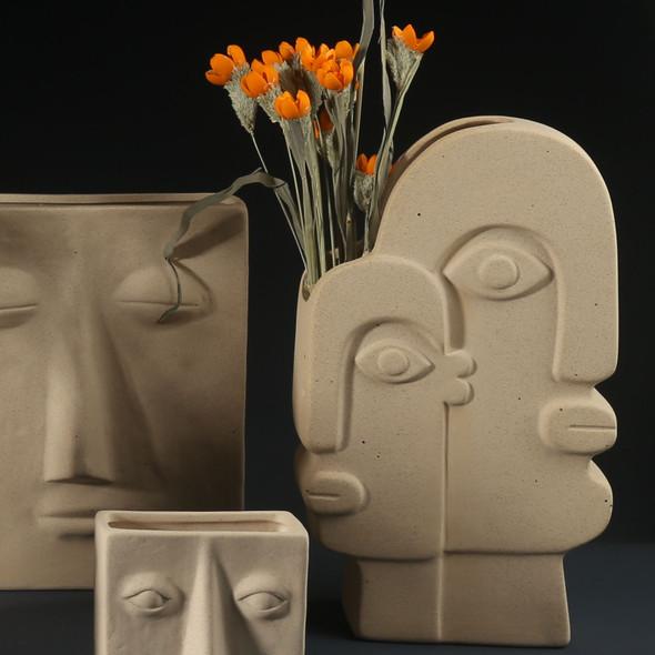 Gray Ceramic Vase Face Modern Design