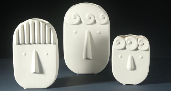 White Ceramic Vase Face Modern Design