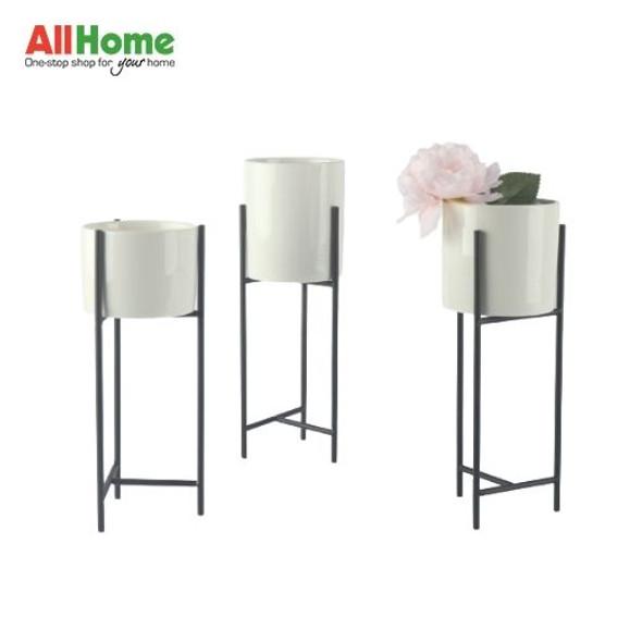 Ceramic White Vase Black Metal  Stand BR108