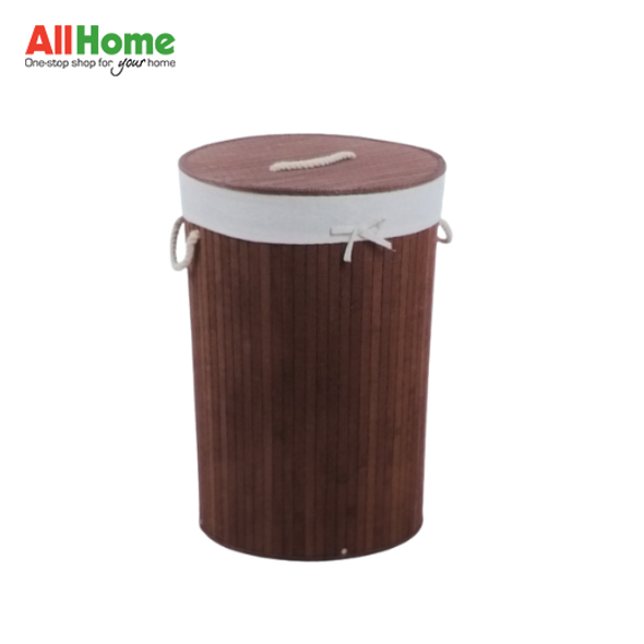 EZ SPACES Round Bamboo Hamper with Fabric Liner and Rope Handle Lid Brown