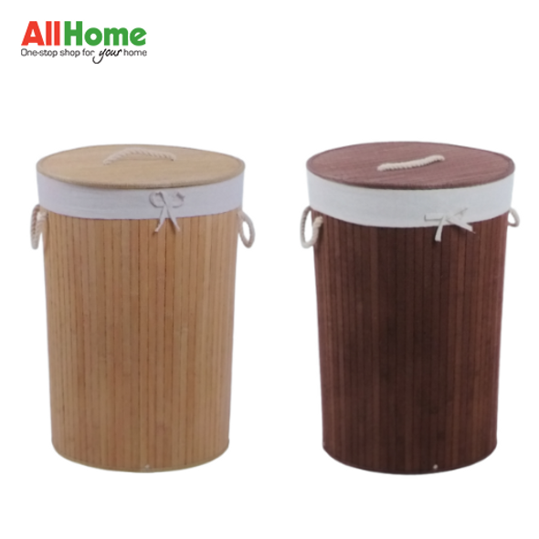 EZ SPACES Round Bamboo Hamper with Fabric Liner and Rope Handle Lid (Natural, Brown)
