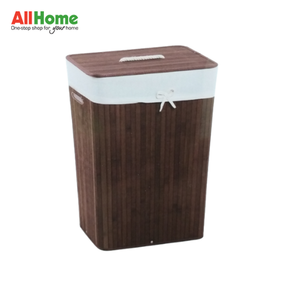 EZ SPACES Rectangular Bamboo Hamper with Fabric Liner and Rope Handle Lid Brown