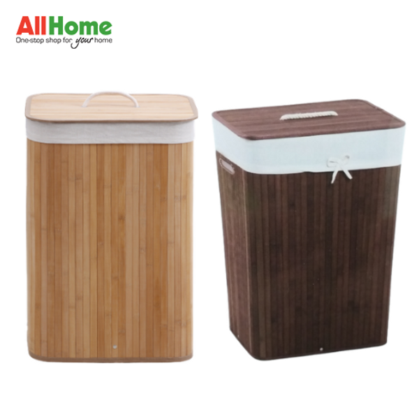 EZ SPACES Rectangular Bamboo Hamper with Fabric Liner and Rope Handle Lid (Natural, Brown)