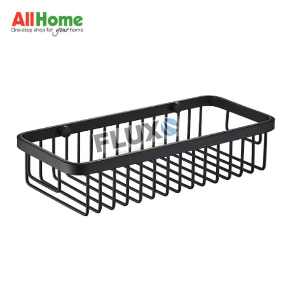 FLUXO AHBA16 Bathroom Organizer Basket Rectangle Black Matte SS304