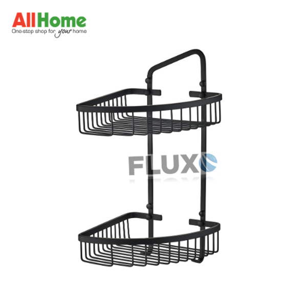 AHBA18 Bathroom Corner Basket 2layer Black Matte SS304