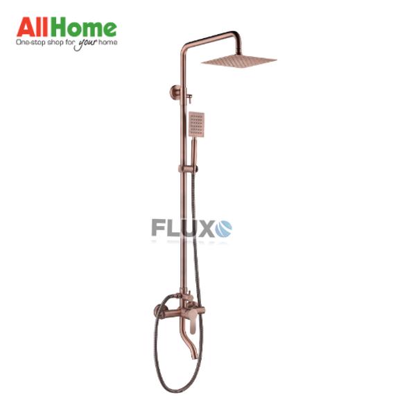 Fluxo AHSFG3-Mixer Exposed Rain Shower Rose Gold Square Head w/ Faucet