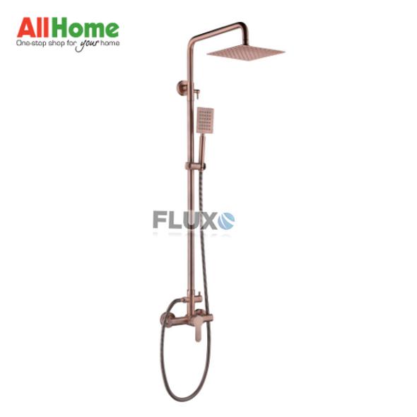 Fluxo AHSFG4 Exposed Rain Shower Mixer Rose Gold Square Head