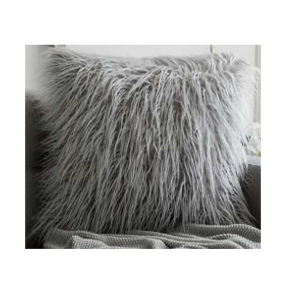 "17""x17"" Gray Faux Fur Throw Pillow Case"